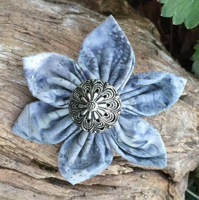 Fabric Flower - Gray and Slate Blue