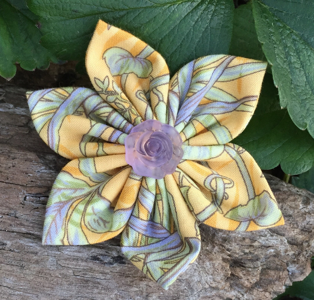 Fabric Flower - Yellow - Periwinkle - Sage Green