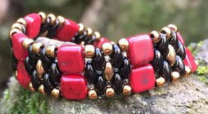 Beaded Bracelet - Black Red and Matte Gold Combo