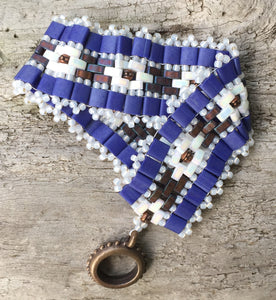 Beaded Bracelet - Blue and Copper Mosaic