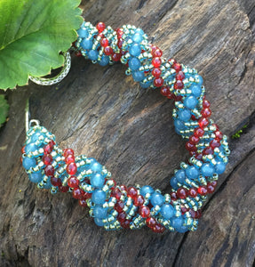 Beaded Bracelet - Blue Red and Seafoam Vine