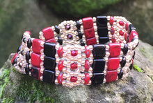 Load image into Gallery viewer, Beaded Bracelet - Red Black and Matte Gold Brocade