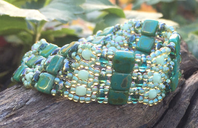 Seafoam and Aqua Green Czech Glass Beaded Bracelet