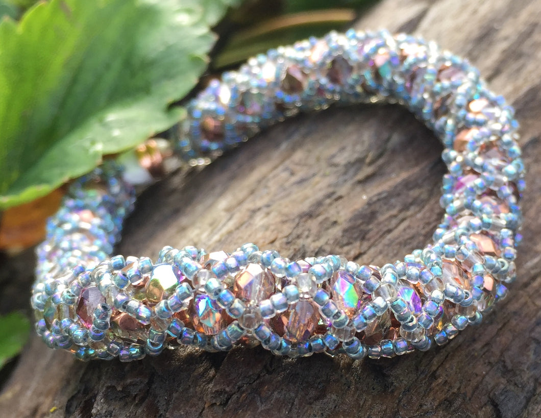 Beaded Bracelet - Crystal Copper and Lt Blue Netted Treasure