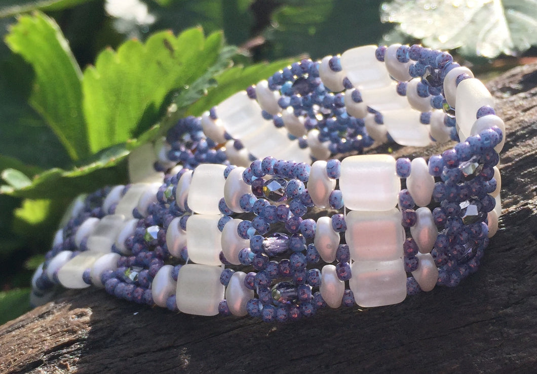 Lavender and Moonglow Czech Glass Beaded Bracelet