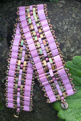 Pink Tile beads - Pink and Matte Bronze Half Tiles Magnetic Clasp 7 3/4