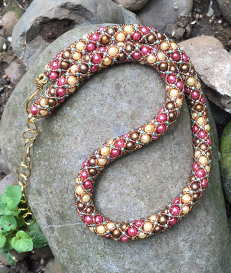 Beaded Necklace - Rose Garden Netted Treasure