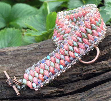 Snakeskin Bracelet - Salmon and Pale Turquoise