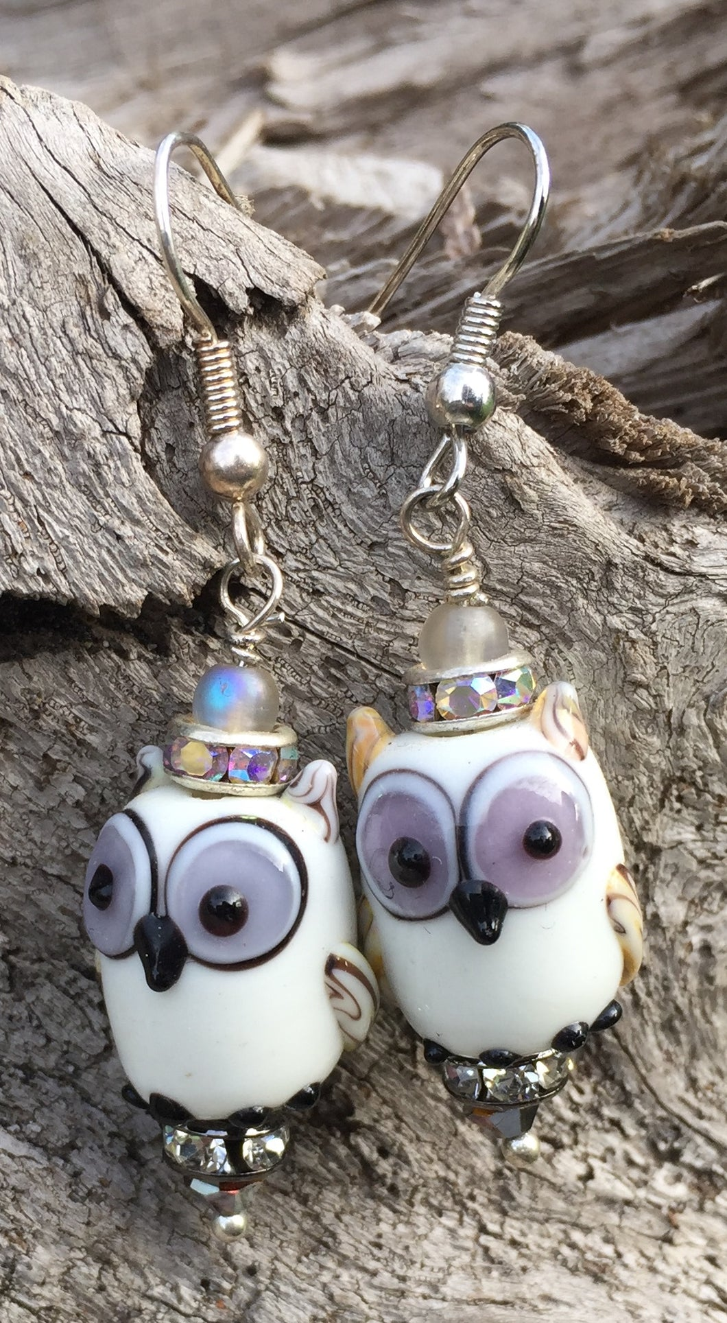 Lampwork Glass White and Lavender Owl Earrings