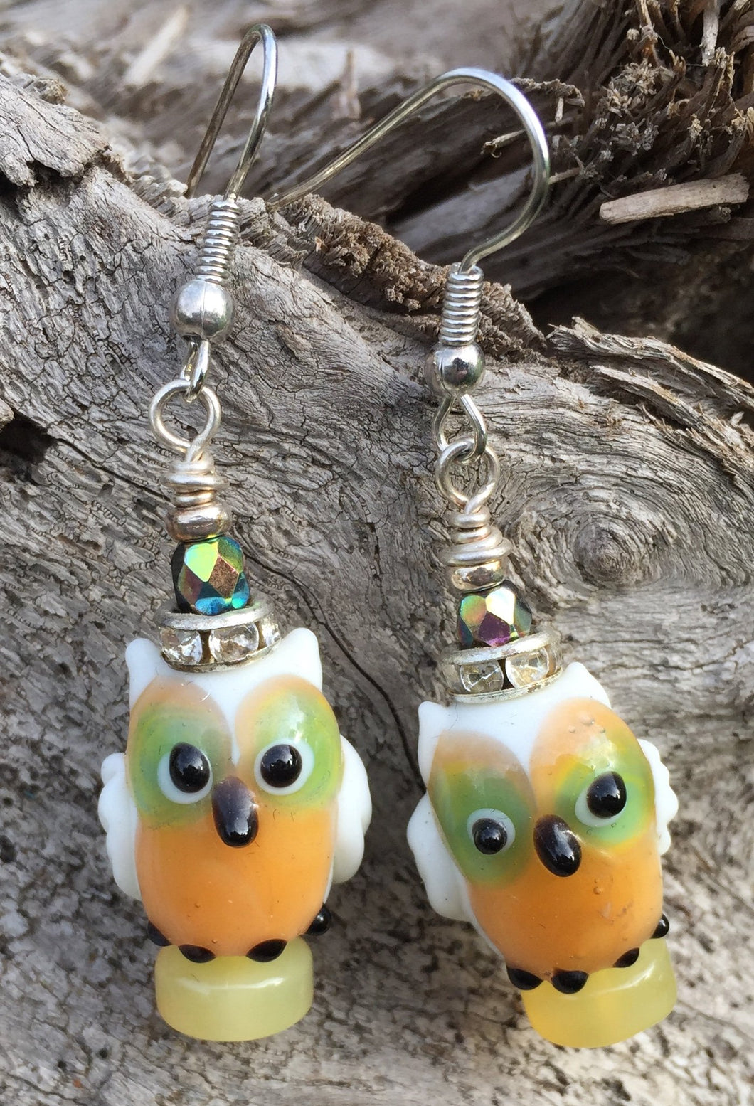 Lampwork Glass Earrings - White, Peach, Olive Owls
