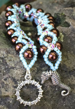 Load image into Gallery viewer, Beaded Bracelet - Pearl Monster - Dark Brown and Aqua