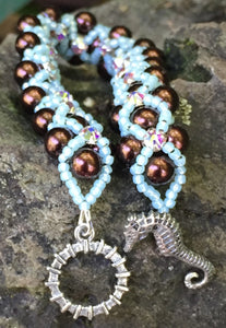 Beaded Bracelet - Pearl Monster - Dark Brown and Aqua