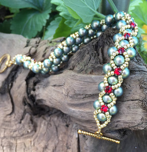 Beaded Bracelet - Pearl Monster - Iridescent Green Glass Pearl and Siam Red