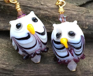 White and Purple Swirl Owl Earrings