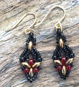 Hummingbird Earrings - Black over Gold, Red
