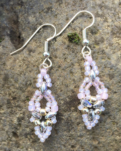 Hummingbird Earrings - Pale Pink over Silver