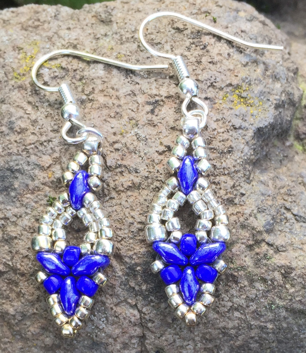 Hummingbird Earrings - Silver over Cobalt