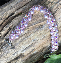 Load image into Gallery viewer, Beaded Bracelet - Pearl Monster - Pale Mauve and Crystal