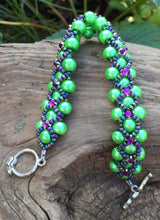 Load image into Gallery viewer, Beaded Bracelet - Pearl Monster - Vivid Green and Violet