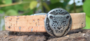 Leather Bracelet - Portuguese Cork Bracelet - Cheetah  with Silver Flecks