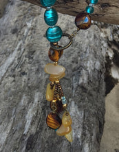 Load image into Gallery viewer, Glass Necklace - Amber, Turquoise and Buttery Yellow Lariat Style