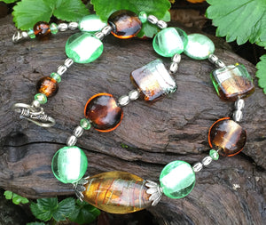 Lampwork Glass Necklace - Amber and Green