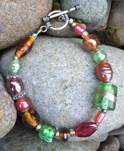 Lampwork Glass Bracelet - Amber Green Red Silver