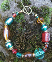 Load image into Gallery viewer, Lampwork Glass Bracelet - Amber Teal Red