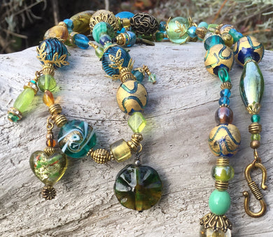 Lampwork Necklace - Gold Aqua and Chartreuse Dangles