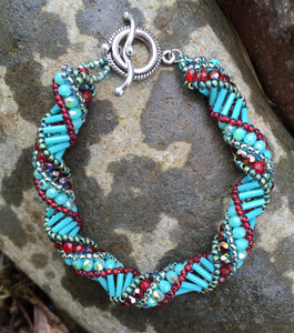 Beaded Bracelet - Aqua and Red Helix