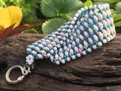 Snakeskin Bracelet - Iridescent Aqua and White