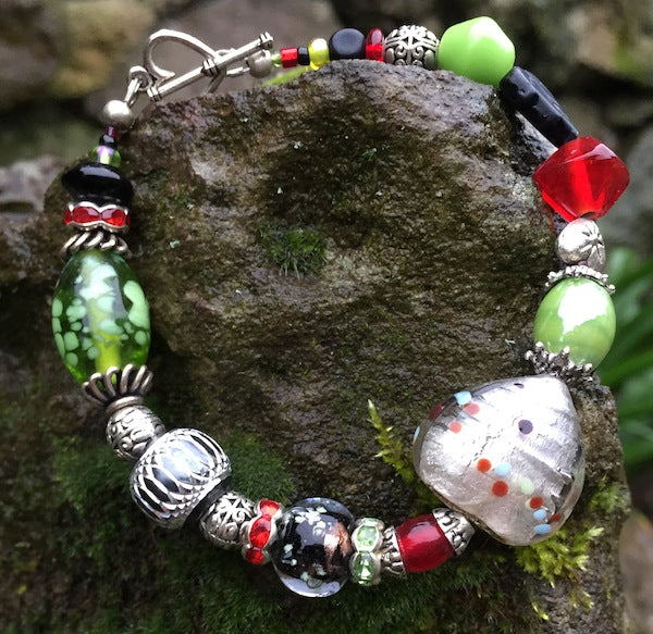 Lampwork Bracelet - Black Green Red and Silver