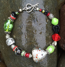 Load image into Gallery viewer, Lampwork Bracelet - Black Green Red and Silver