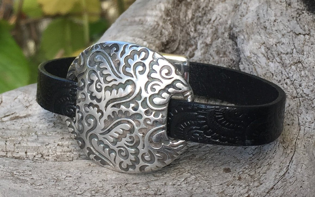 Leather Bracelet - Ornate Italian Black with Scroll Disc