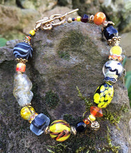 Load image into Gallery viewer, Lampwork Glass Bracelet - Black Yellow Orange