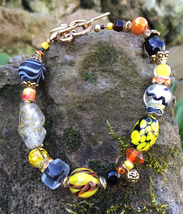 Lampwork Glass Bracelet - Black Yellow Orange