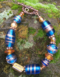Lampwork Glass Bracelet - Blue Amber Copper