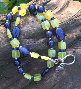 Mineral Necklace - Blue Goldstone & Jade Choker