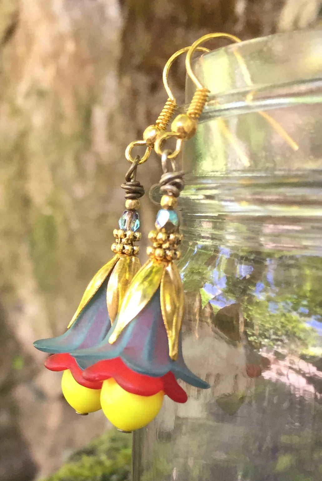 Teal Red and Yellow Tulip Earrings