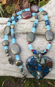 Mineral Necklace - Blue Sea Sediment and Apple Jasper