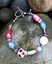 Load image into Gallery viewer, Lampwork Glass Bracelet - Blue Silver Red