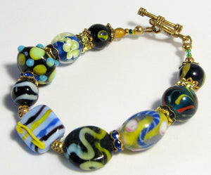 Lampwork Glass Bracelet - Blue Yellow Black