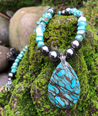 Mineral necklace - Blue Zebra Jasper and Turquoise