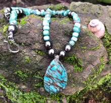 Load image into Gallery viewer, Mineral necklace - Blue Zebra Jasper and Turquoise