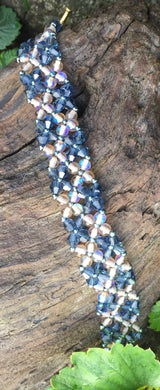 Beaded Bracelet - Blue and Pale Amber Swarovski crystals