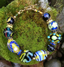 Load image into Gallery viewer, Lampwork Glass Bracelet - Blue Yellow Black