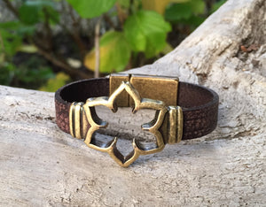 Leather Bracelet - Brown Leather with Antique Bronze open frame