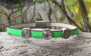 Leather Bracelet - Neon Green Leather with Crystal and Spiral sliders