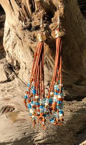 Cattail Leather Earrings - Desert Moon
