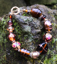 Load image into Gallery viewer, Lampwork Glass Bracelet - Brown Pink Amber